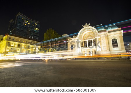 HO CHI MINH CITY, VIET NAM - FEB 24, 2017: Municipal Theatre of Ho Chi Minh City at night, Sai Gon, Viet Nam.
