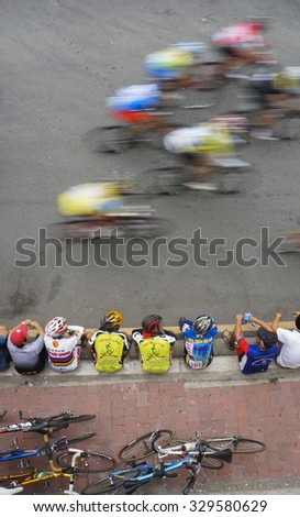 Ho Chi Minh city, Viet Nam - Jan 4, 2014: Bicycle racing for New Year in Ho Chi Minh city, all amateur racer can register for each age content. - stock photo