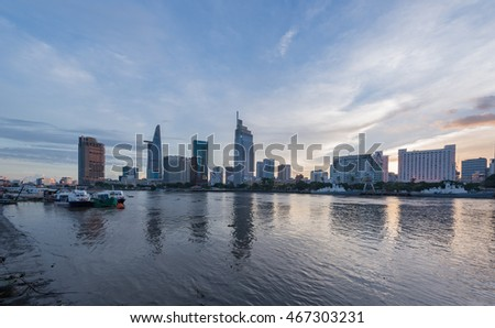 Ho Chi Minh City, Viet Nam - July 31, 2016: Sunset over Downtown Saigon, Ho Chi Minh city - the biggest city in Vietnam.