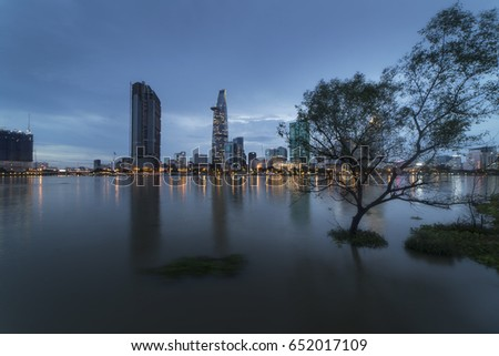 HO CHI MINH CITY, VIET NAM - JUNE 02, 2017: Ho Chi Minh city at night after the rain, Sai Gon, Viet Nam.
