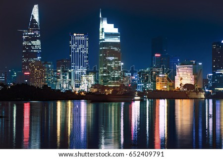 HO CHI MINH CITY, VIET NAM - JUNE 03, 2017: Ho Chi Minh city at night, Sai Gon, Viet Nam. View from Thu Thiem tunel to Bitexco tower and many other buidings.