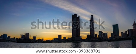 Ho Chi Minh City, Viet Nam 19 MAR 2016: Downtown Saigon in sunset ,Ho Chi Minh city, Vietnam. Ho Chi Minh city is the biggest city in Vietnam.
