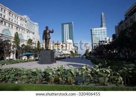 Ho Chi Minh City, Viet Nam on 27 August 2015: Vincom center in downtown street at Nguyen Hue Pedestrian Street  at center of city. - stock photo