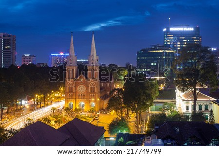 HO CHI MINH CITY, VIET NAM - SEPTEMBER 14, 2014  : Notre Dame cathedral downtown at night. - stock photo