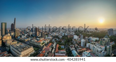 HO CHI MINH CITY , VIETNAM - APR 08, 2016: Twilight high view at Ho Chi Minh City , Vietnam at night. Notre Dame cathedral is in this picture, yellow trail on street. - stock photo