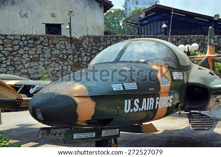 Ho Chi Minh City, Vietnam - April 10, 2015: American Cessna Jet Fighter Plane on display at War Remnants Museum. - stock photo