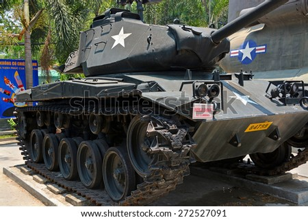 Ho Chi Minh City, Vietnam - April 10, 2015: American Chaffee Reconnaissance Light Tank on display at War Remnants Museum. - stock photo