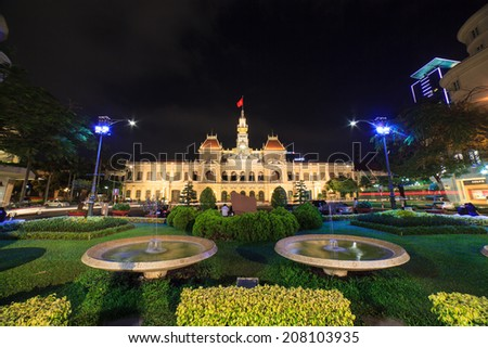 HO CHI MINH CITY, VIETNAM - APRIL 29: Ho Chi Minh City Hall on April 29, 2014 in Ho Chi Minh City. Built in French colonial style it was Saigon most iconic building and known as Hotel de Ville.  - stock photo