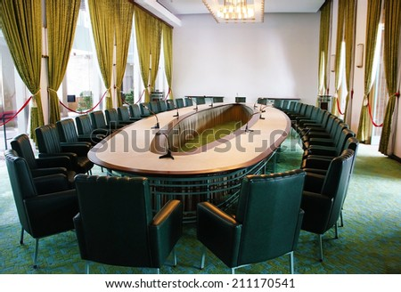 HO CHI MINH CITY, VIETNAM- AUG 16: Antique view of Independence Palace interior, beautiful meeting room, luxury decoration, Nguyen Van Thieu is last president of feudalism, Vietnam, Aug 16, 2014 - stock photo