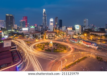 Ho Chi Minh City, Vietnam - Aug 9, 2014. Downtown Saigon by night, Ho Chi Minh City, Vietnam