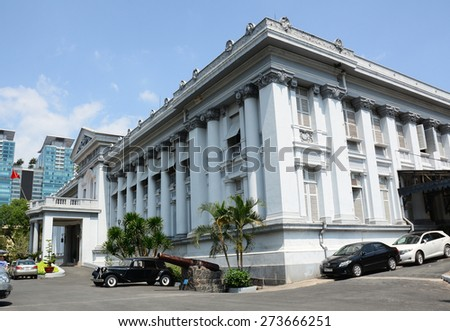 HO CHI MINH CITY, VIETNAM- DECEMBER 26, 2014: Gia Long Palace, a Saigon's French colonial architecture, near Ben Thanh Market, now are history museum. - stock photo