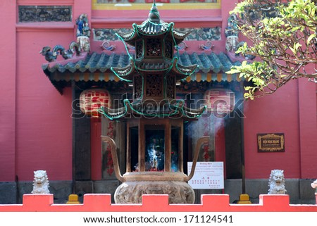 HO CHI MINH CITY, VIETNAM-DECEMBER 17: Jade Emperor Pagoda (Chua Ngoc Hoang or Phuoc Hai Tu) on December 17, 2012 in Ho Chi Minh City Vietnam. The Jade Emperor Pagoda was built in 1909. - stock photo