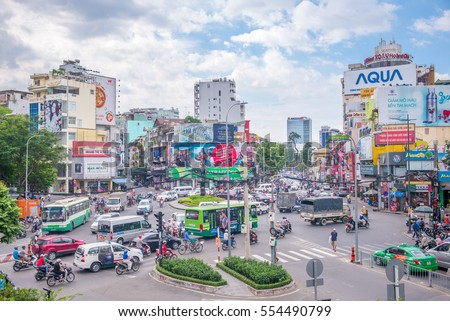 Ho Chi Minh City, Vietnam - December 30, 2016: street view of ho chi minh city, the largest city in vietnam