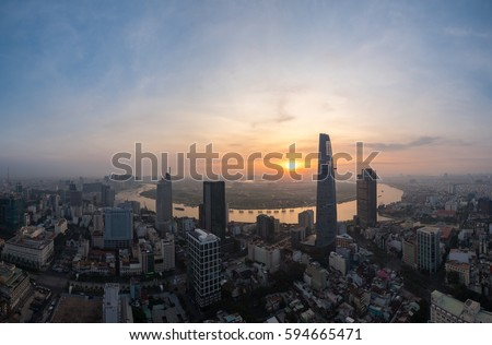 Ho Chi Minh city, Vietnam - February 26, 2017: Aerial view of houses and Business and Sai Gon Center of Ho Chi Minh city in early morning