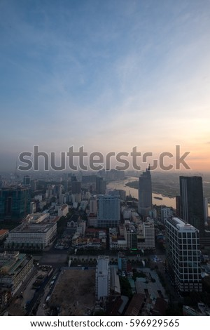 Ho Chi Minh city, Vietnam - February 26, 2017: Aerial view of houses and Business and Sai Gon Center of Ho Chi Minh city