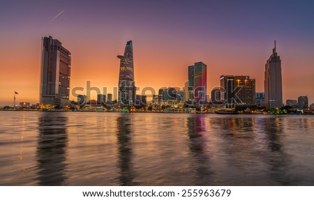 Ho Chi Minh City, VietNam FEBRUARY, 25, 2015: Downtown Saigon in twilight ,Ho Chi Minh city, Vietnam. Ho Chi Minh city is the biggest city in Vietnam.  - stock photo
