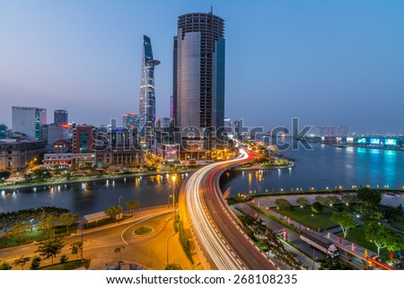 HO CHI MINH CITY, VIETNAM - FEBRUARY, 09, 2015 : view of Ho Chi Minh city or Saigon at night, Vietnam. Ho Chi Minh city is the biggest city and economic center in Vietnam - stock photo