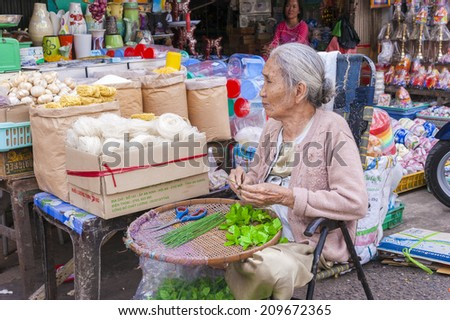 HO CHI MINH CITY, VIETNAM - JAN 18: Senior woman at her groceries shop in Binh Tay market, Ho Chi Minh City on Jan 18, 2014. Binh Tay market are the biggest wholesales market in Ho Chi Minh city - stock photo