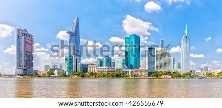 Ho Chi Minh City, Vietnam - January 19th, 2016: Skyscrapers along river with architecture office towers, hotels, center cultural and commercial development country most in Ho Chi Minh city, Vietnam