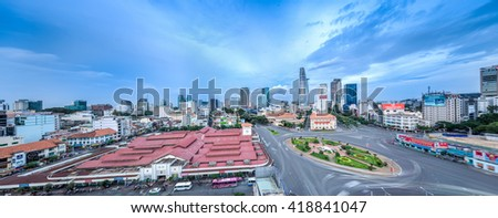 Ho Chi Minh City, Vietnam - July 02, 2015: Ben Thanh Market and Quach Thi Trang roundabout, one of most popular attractive place for travel and tourism in the biggest city.