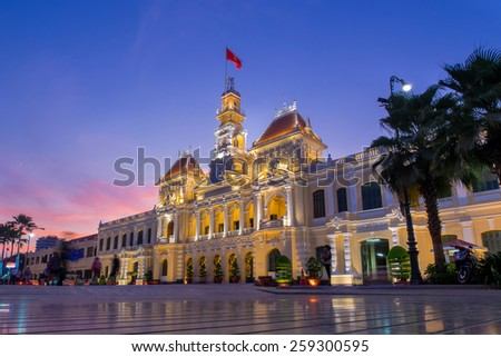HO CHI MINH CITY, VIETNAM - March 6, 2015 :  Night scene of Ho Chi Minh City Hall 2015. It was built in 1902-1908 in a French colonial style for the then city of Saigon. - stock photo