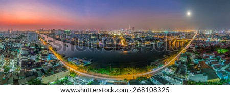 HO CHI MINH CITY, VIETNAM - MARCH, 02, 2015 :Panoramic view of Ho Chi Minh city or Saigon at night, Vietnam. Ho Chi Minh city is the biggest city and economic center in Vietnam - stock photo
