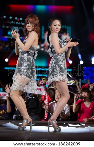 Ho Chi Minh City, Vietnam - March 22: Soyou and Dasom (Sistar band) dance and sing on stage at the Human Culture Equilibrium Concert Korea Festival in Viet Nam on March 22, 2014.