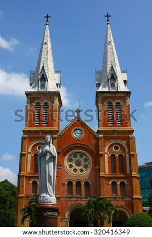 HO CHI MINH CITY, VIETNAM - May 31, 2015 : Notre Dame Cathedral (Vietnamese: Nha Tho Duc Ba), build in 1883 in Ho Chi Minh city, Vietnam. The church is established by French colonists. - stock photo