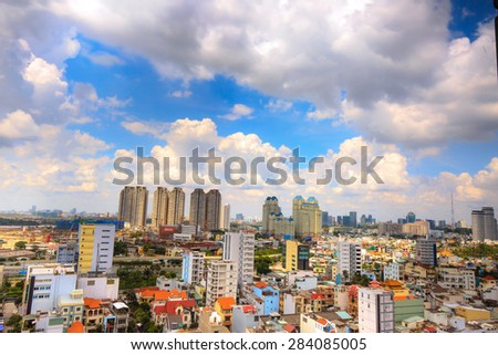Ho Chi Minh city, Vietnam - May 24, 2015: the entire city of Ho Chi Minh City, the most populous city in South-east Asia region, the pace of construction is very fast but not as planned