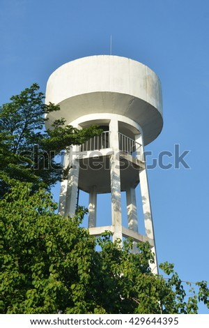 HO CHI MINH CITY, VIETNAM, MAY 31, 2016, Water Pressure Tower, Trees, Blue Sky, Documentary Editorial