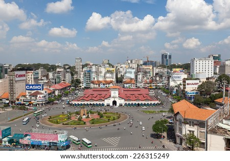 HO CHI MINH CITY, VIETNAM - October 26 , 2014: Aerial view of Ben Thanh market, the iconic and antique building in Saigon from 1859. - stock photo