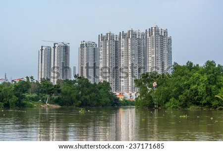 HO CHI MINH CITY, VIETNAM - OCTOBER 11, 2014: new apartments for poor people come to live in when their current place being cleared. Ho Chi Minh city is the biggest city in Vietnam - stock photo