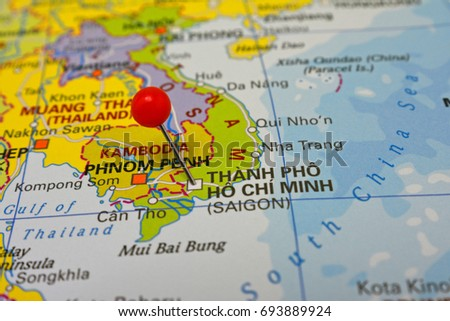 Ho Chi Minh Marked On Map Stock Photo 693889924 Shutterstock