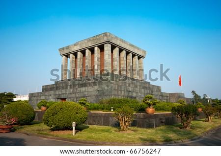 Ho Chi Minh Mausoleum in Hanoi, Vietnam. - stock photo