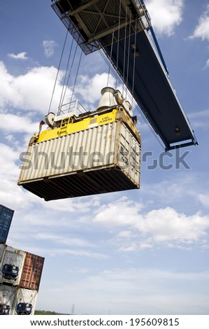 Ho Chi Minh - SEPTEMBER 23 : Large container ship bearthing for loading cargo at Ho Chi Minh harbour in Vietnam, on September 23 , 2013 - stock photo