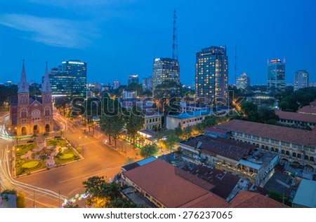Ho Chi Minh- Viet Nam 7-May-2015.Downtown Saigon in sunset. Ho Chi Minh city, Vietnam. Ho Chi Minh city is the biggest city in Vietnam - stock photo