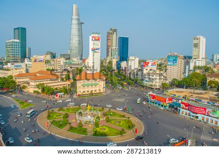 HO CHI MINH, VIETNAM - April 19: Downtown Saigon and Quach Thi Trang park at blue hour on April 19, 2015, in Ho Chi Minh city, Vietnam. Ho Chi Minh city is the biggest city in Vietnam