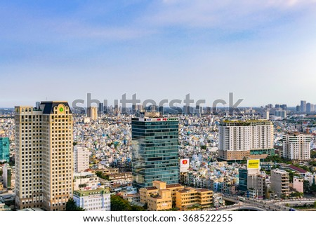 HO CHI MINH, VIETNAM - JAN 23, 2016 : View towards the city center and Vo Van Kiet Boulevard in Ho Chi Minh City, Vietnam.
