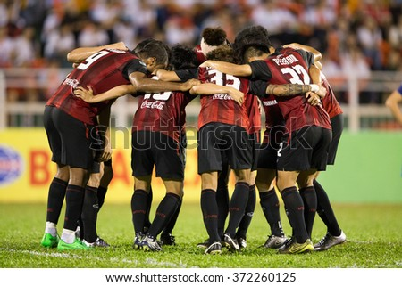 HO CHI MINH-VIETNAM JANUARY23:Players of Muangthong Utd in action during The SCG Muangthong Utd Asean Tour 2016 Binh Duong and Muangthong Utd at Thong Nhat Stadium on Jan23,2016 in Vietnam - stock photo