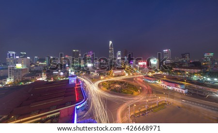 Ho Chi Minh, Vietnam - July 07, 2015: Panorama of Ben Thanh Market and Quach Thi Trang roundabout, one of most popular attractive place for travel and tourism in the biggest city