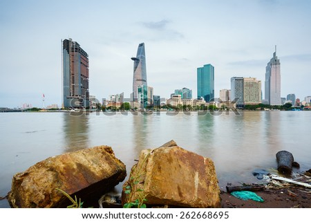 HO CHI MINH, VIETNAM - MARCH 21, 2015. Saigon Riverside (view from Thu Thiem), Ho Chi Minh City in the early morning. Ho Chi Minh city is the biggest city in Vietnam - stock photo