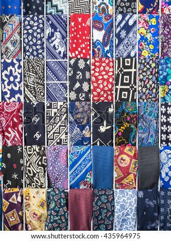 Ho Chi Minh, Vietnam - May 28, 2016: Set of Ties, colorful, vintage.