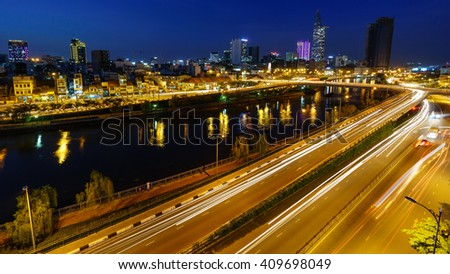 HO CHI MINH, VIETNAM - November 23 2015: view from Camette Bridge at Ho Chi Minh City.
