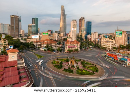 HO CHI MINH, VIETNAM - SEP 3: Downtown Saigon and Quach Thi Trang park at blue hour on September 3, 2014, in Ho Chi Minh city, Vietnam. Ho Chi Minh city is the biggest city in Vietnam. - stock photo