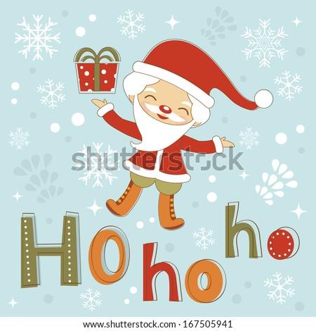 Ho-ho-ho Santa. Rasterized version. vector is also available - stock photo