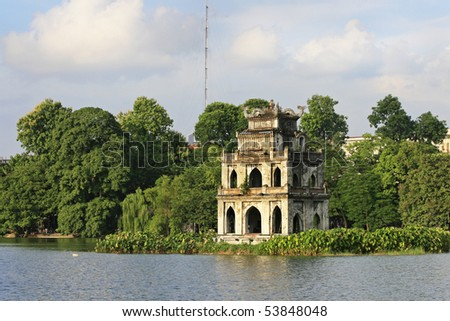 Ho Hoan Kiem, the little lake in the old part of Hanoi, Vietnam, with the Tortoise Tower. Tortoise Tower is the symbol of Hanoi,Vietnam - stock photo