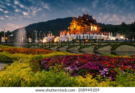 Ho kham luang northern thai style building in royal flora expo,Chiangmai Thailand - stock photo