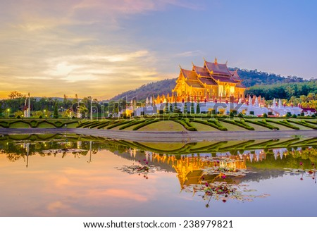 Ho kham luang northern thai style building in Royal Flora temple (ratchaphreuk)in Chiang Mai,Thailand. - stock photo
