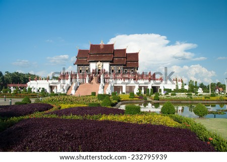 Ho kham luang , the northern thai style building in royal flora expo,Chiang mai, Thailand - stock photo