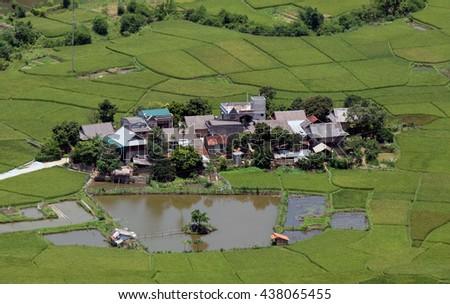 HOA BINH, VIET NAM, May 4, 2016 the valley, the village of Mai Chau, Hoa Binh mountainous province, Vietnam